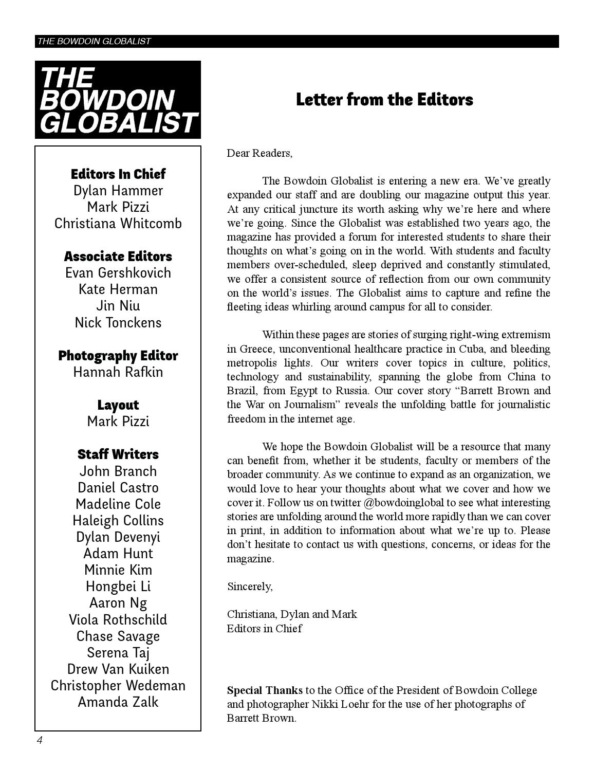The Bowdoin Globalist Issue 4 November 2013 By