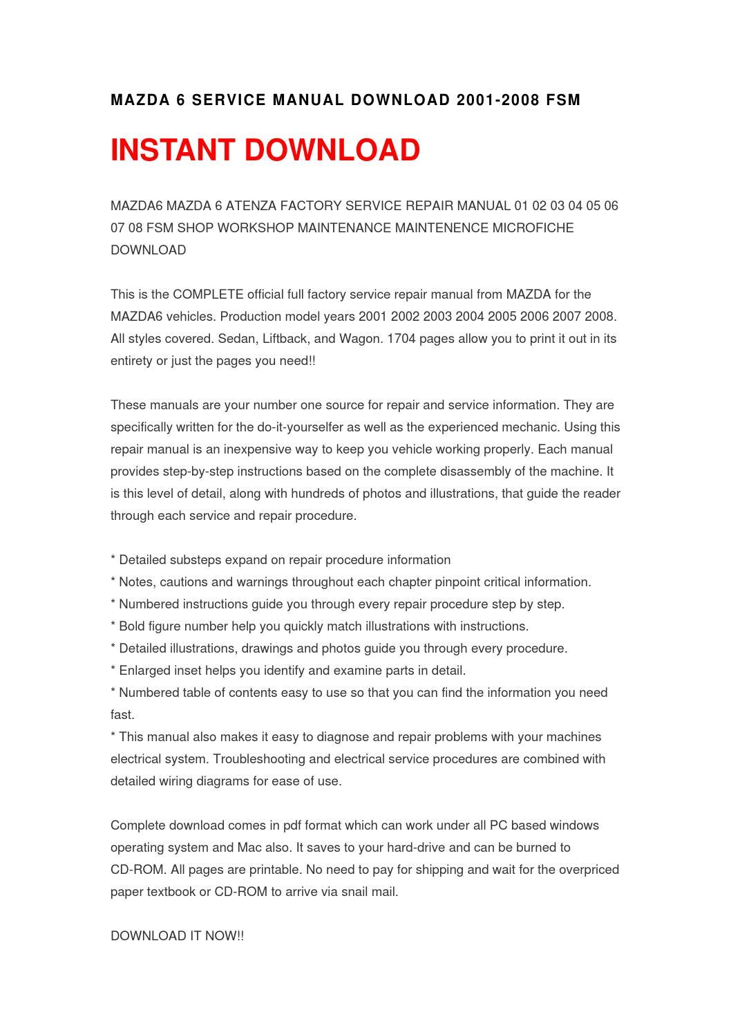 manual mazda 6 2007 pdf