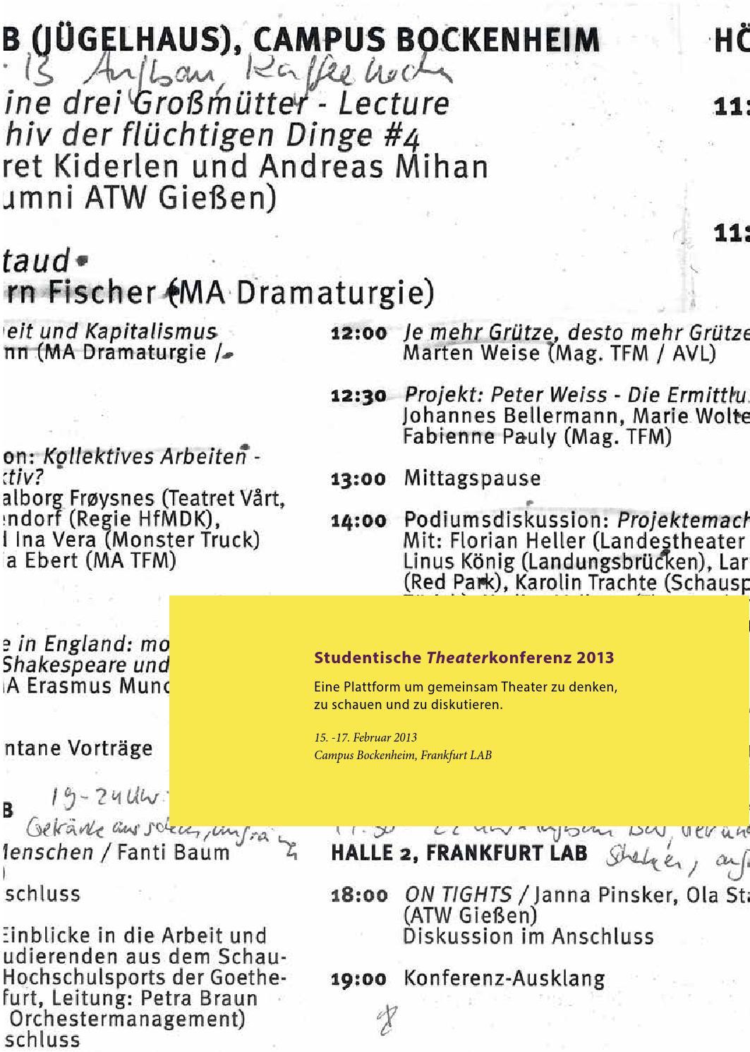 Studentische Theaterkonferenz 2013 Onlinepublikation By