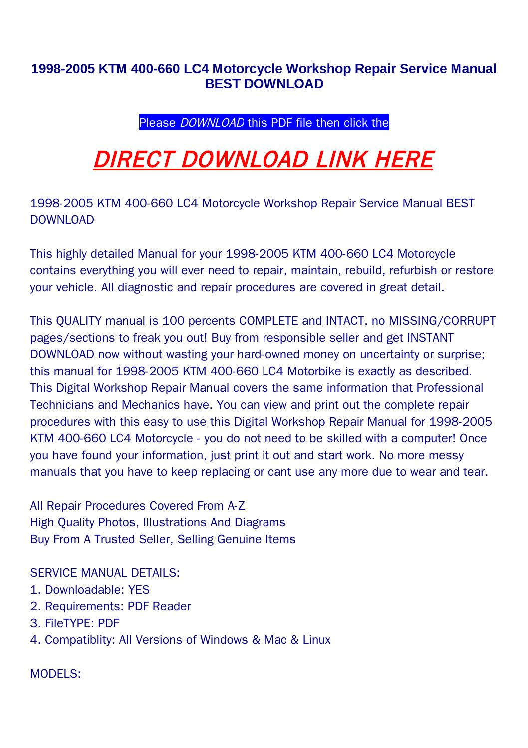 1998 2005 ktm 400 660 lc4 motorcycle workshop repair service manual best  download by returnqqv - issuu