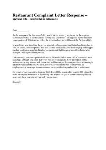 Zadanie 4h 3h by bogdan chomiszczak issuu restaurant complaint letter response przykad listu odpowiedzi na reklamacj spiritdancerdesigns Gallery
