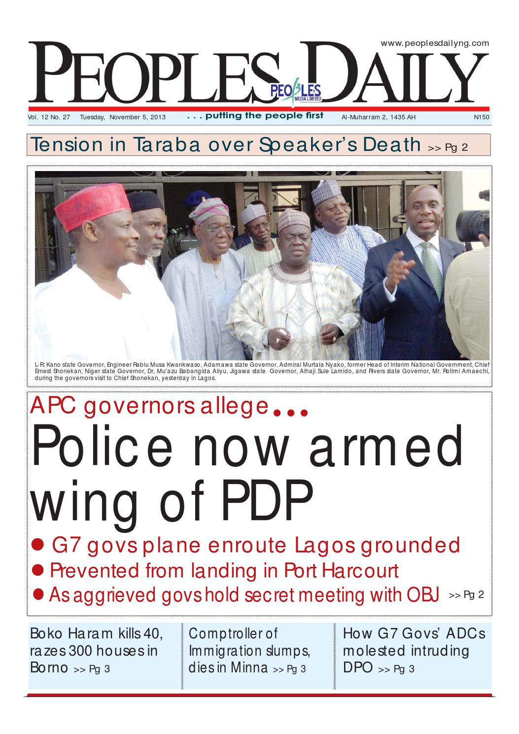 Peoples Daily Newspaper, Tuesday 05, November, 2013 by