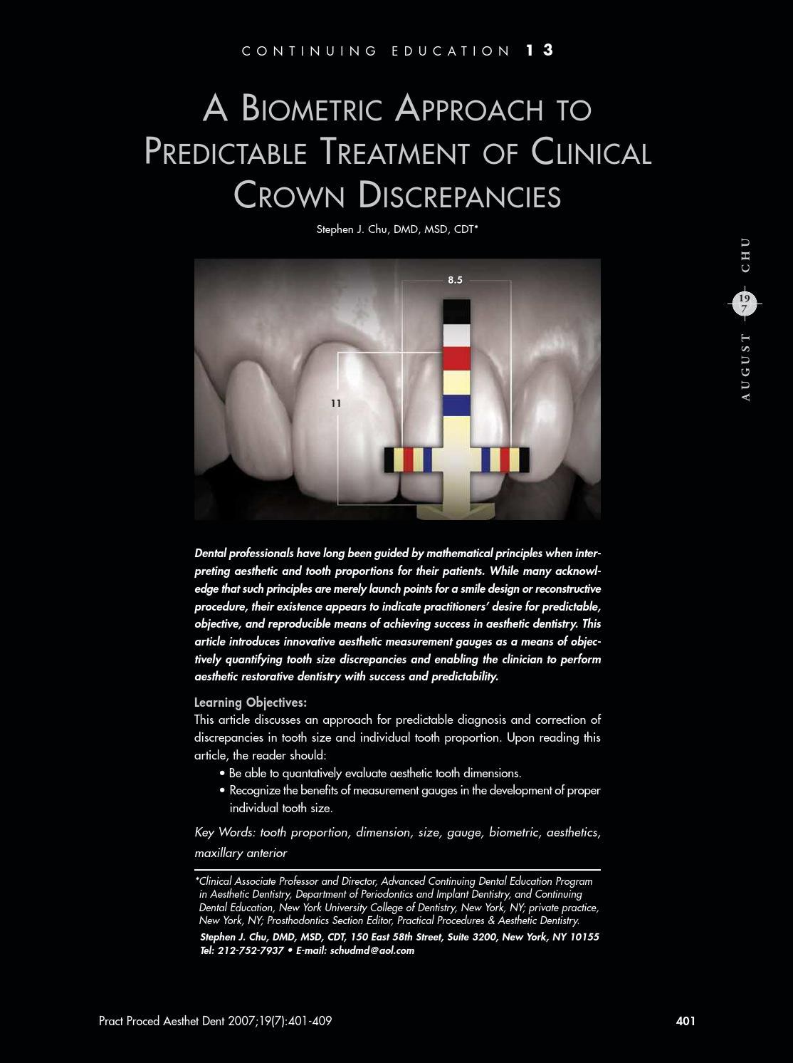 Chu biometric approach crown discrepancies by Hu-Friedy - issuu