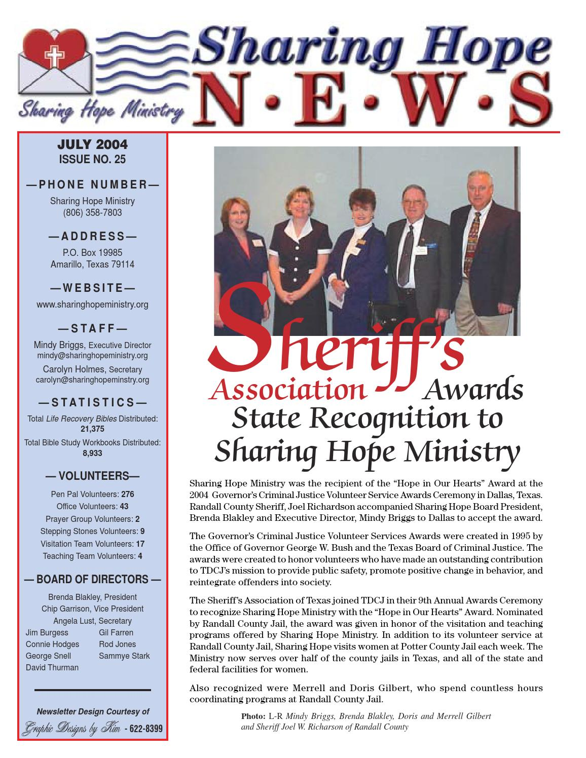 Sharing Hope Ministry 2004 Newsletter 1 by Sharing Hope