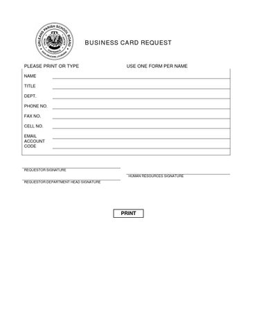 Business Card Request Form By Peggy Abadie Issuu