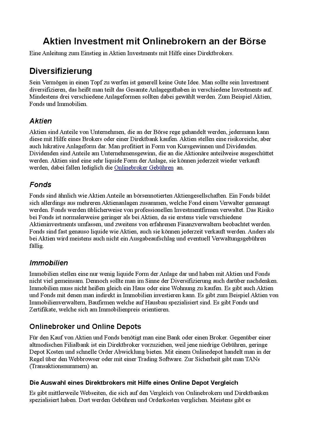 Aktien Kaufen Online Broker Depot Vergleich By Der Broker Issuu