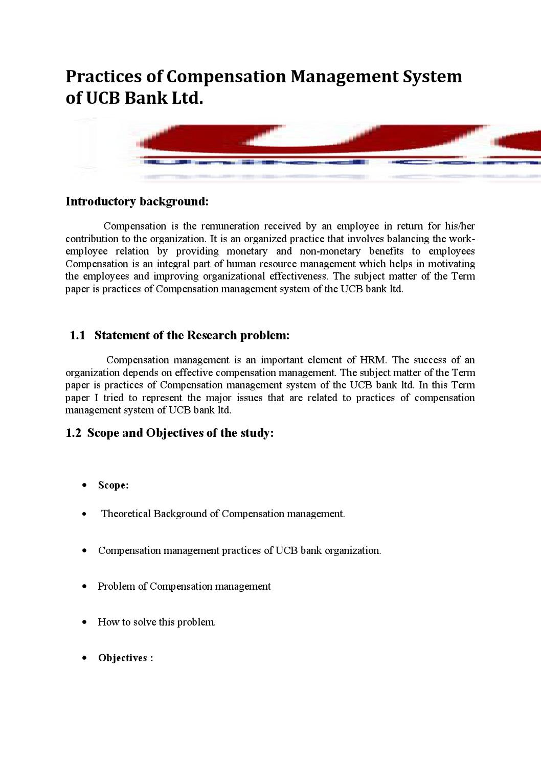 compensation management research paper Faculty of economics and management university putra malaysia research paper keyword(s): compensation, benefits, work-life.
