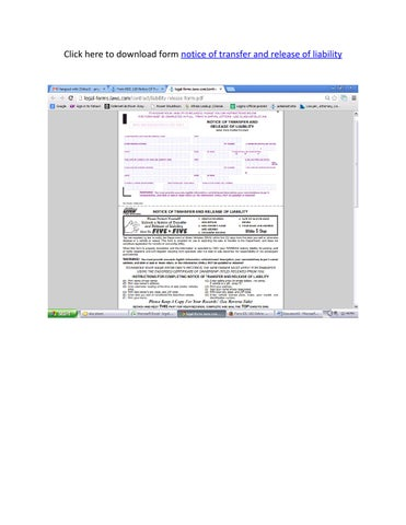 Notice Of Transfer And Release Of Liability >> Form Notice Of Transfer And Release Of Liability By Jeni Issuu