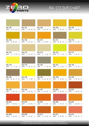 Zero Ral Colour Chart By Ampm Marketing Issuu
