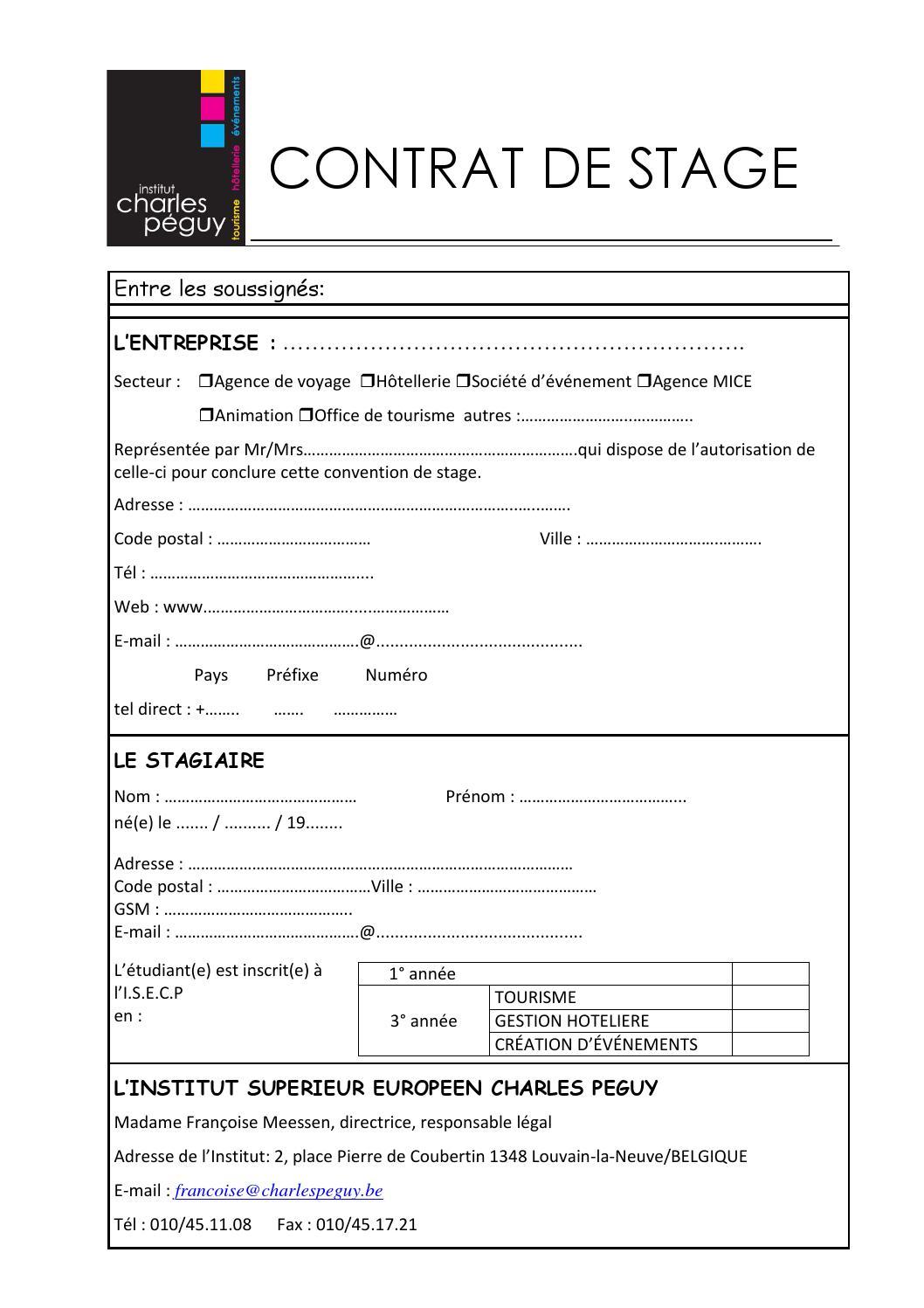 Contrat de stage 1 et 3 eme by charles peguy issuu - Office du tourisme bruges belgique adresse ...