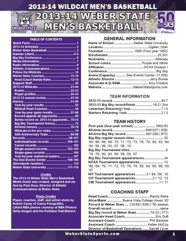 2016-17 Weber State Men's Basketball Almanac by Weber State Athletic  Communications - issuu