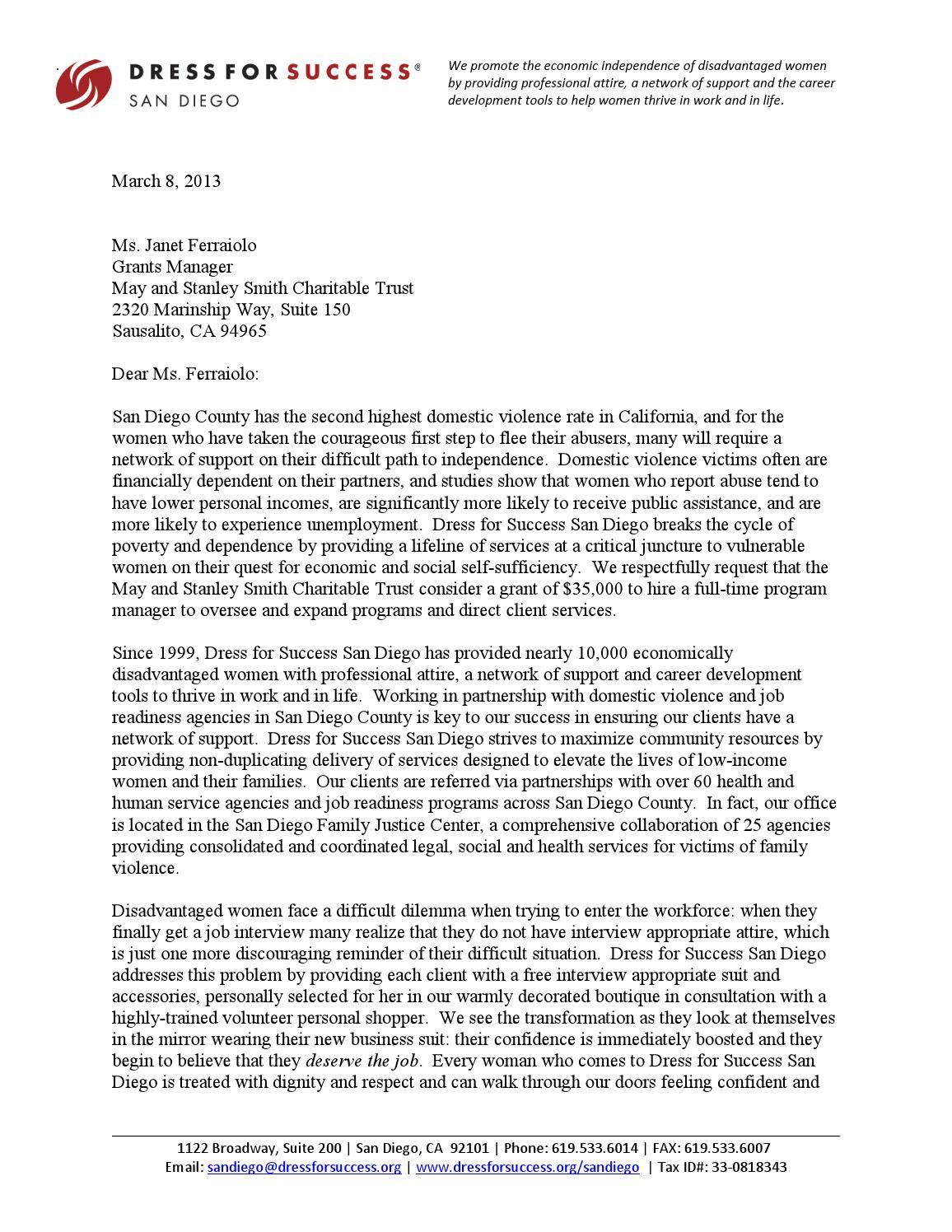 sample grant loi  letter of intent  by derek floyd  m a