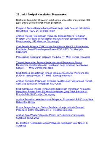26 Judul Skripsi Kesehatan Masyarakat By Judul Skripsi Issuu