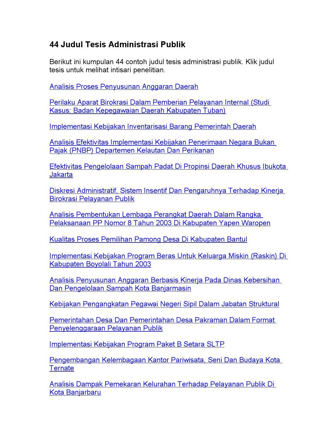 44 Judul Tesis Administrasi Publik By Judul Skripsi Issuu