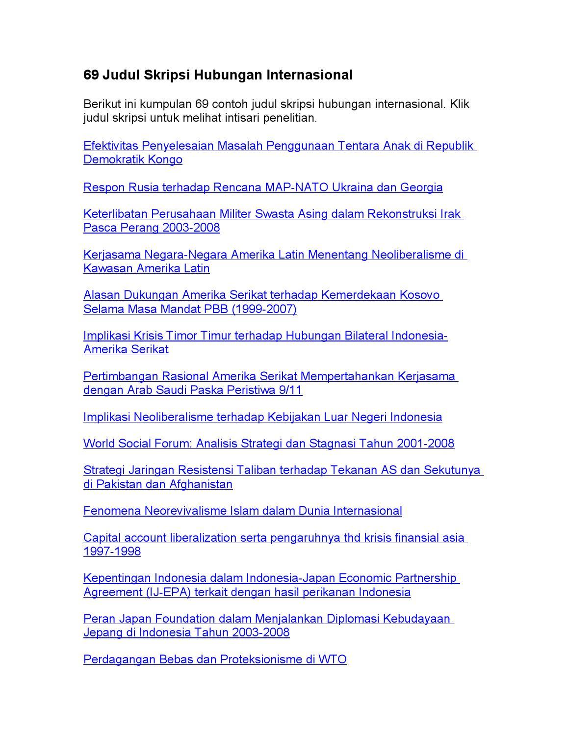 69 Skripsi Hubungan Internasional By Judul Skripsi Issuu