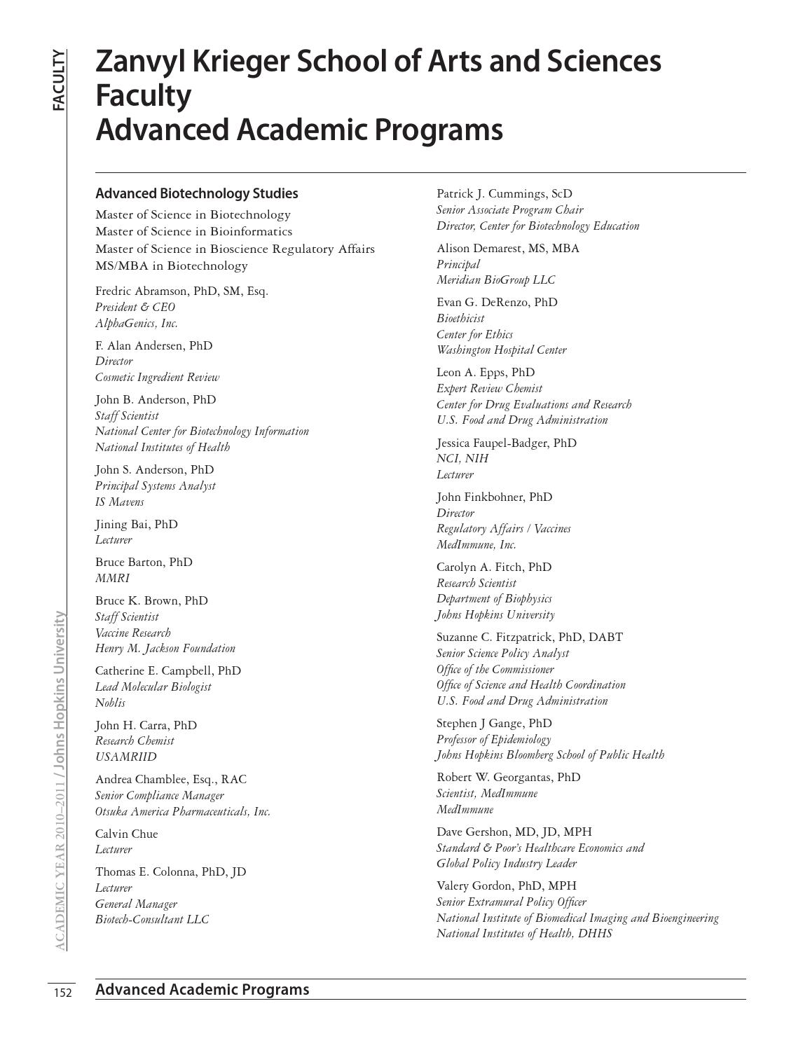 2010-2011 Academic Catalog, Advanced Academic Programs by