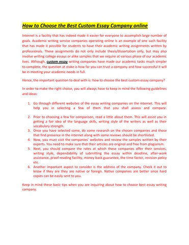High School Narrative Essay How To Choose The Best Custom Essay Company Online Internet Is A Facility  That Has Indeed Made It Easier For Everyone To Accomplish Large Number Of  Goals Essay On Importance Of English Language also Fahrenheit 451 Essay Thesis Custom Essay Service By Makemyessay  Issuu Essay On Health Care