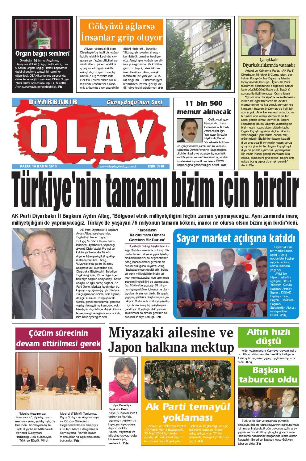 10 11 2013 Gazete Sayfalari By Diyarbakir Olaygazetesi Issuu