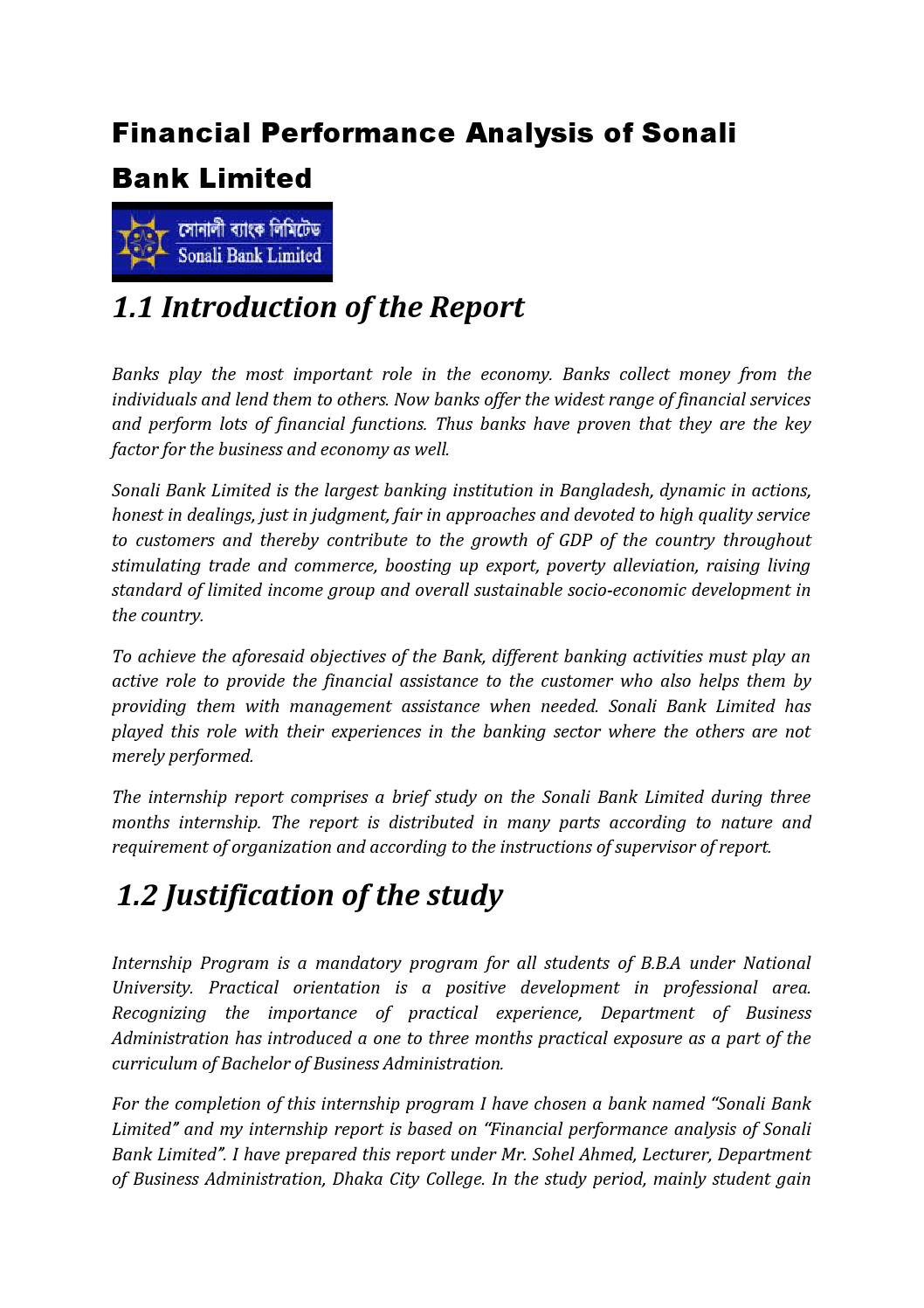 report on overall financial performance analysis