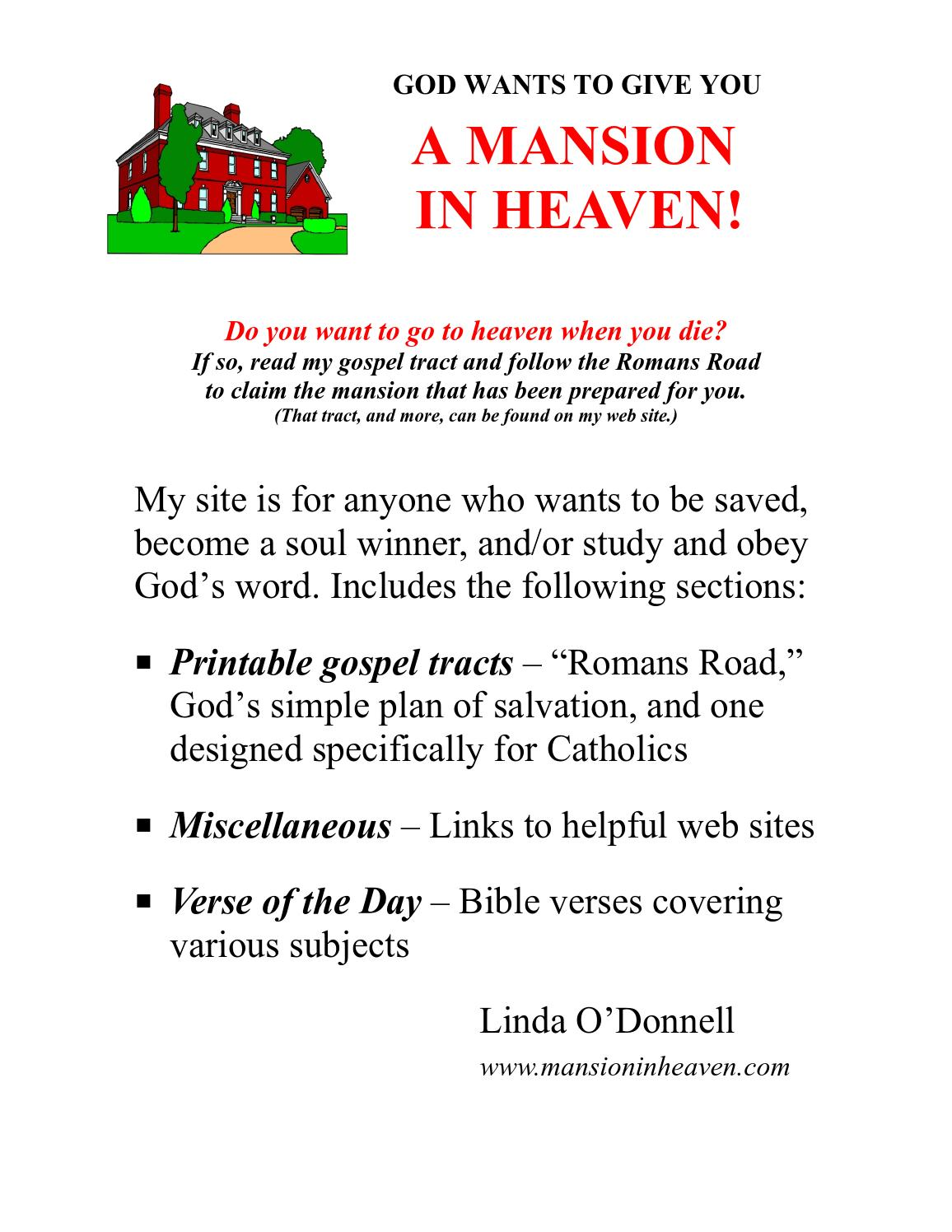 image about Simple Plan of Salvation Printable identify God Desires towards Supply On your own a Mansion inside of Heaven! via Linda O