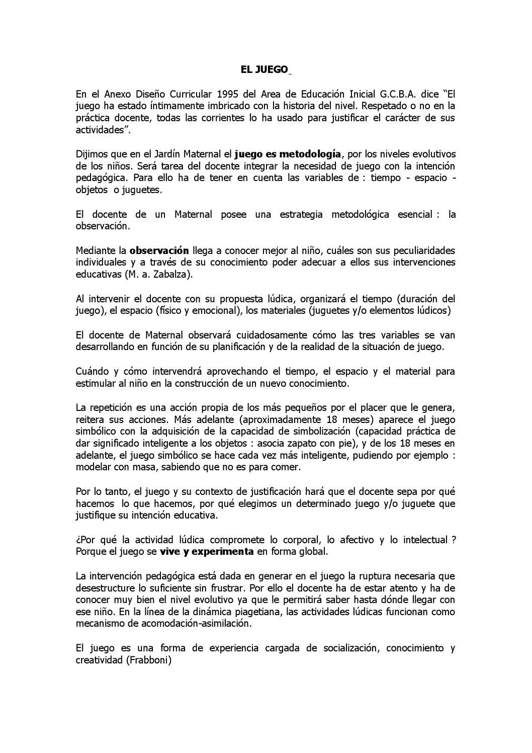 El juego en el jard n maternal by annick issuu for Diseno curricular jardin maternal