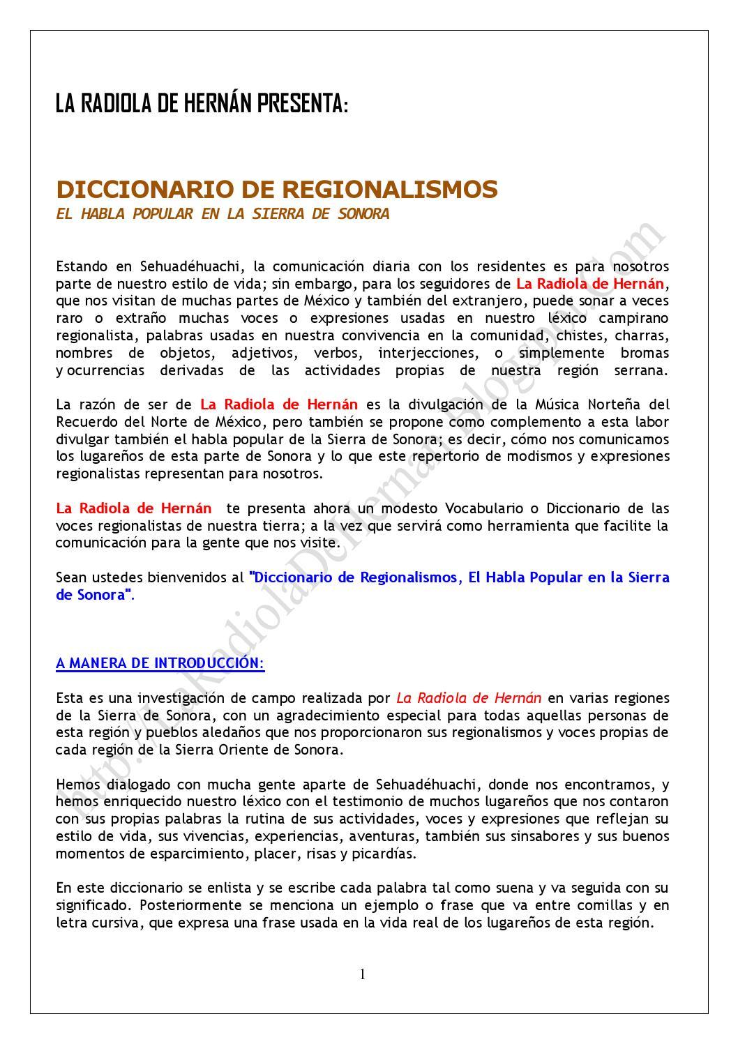 Pdf dicccionaro de regionalismos, el habla popular en la sierra pdf ...