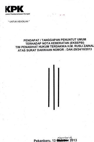 Tanggapan Jpu Atas Eksepsi Rusli Zainal By Senarai Id Issuu