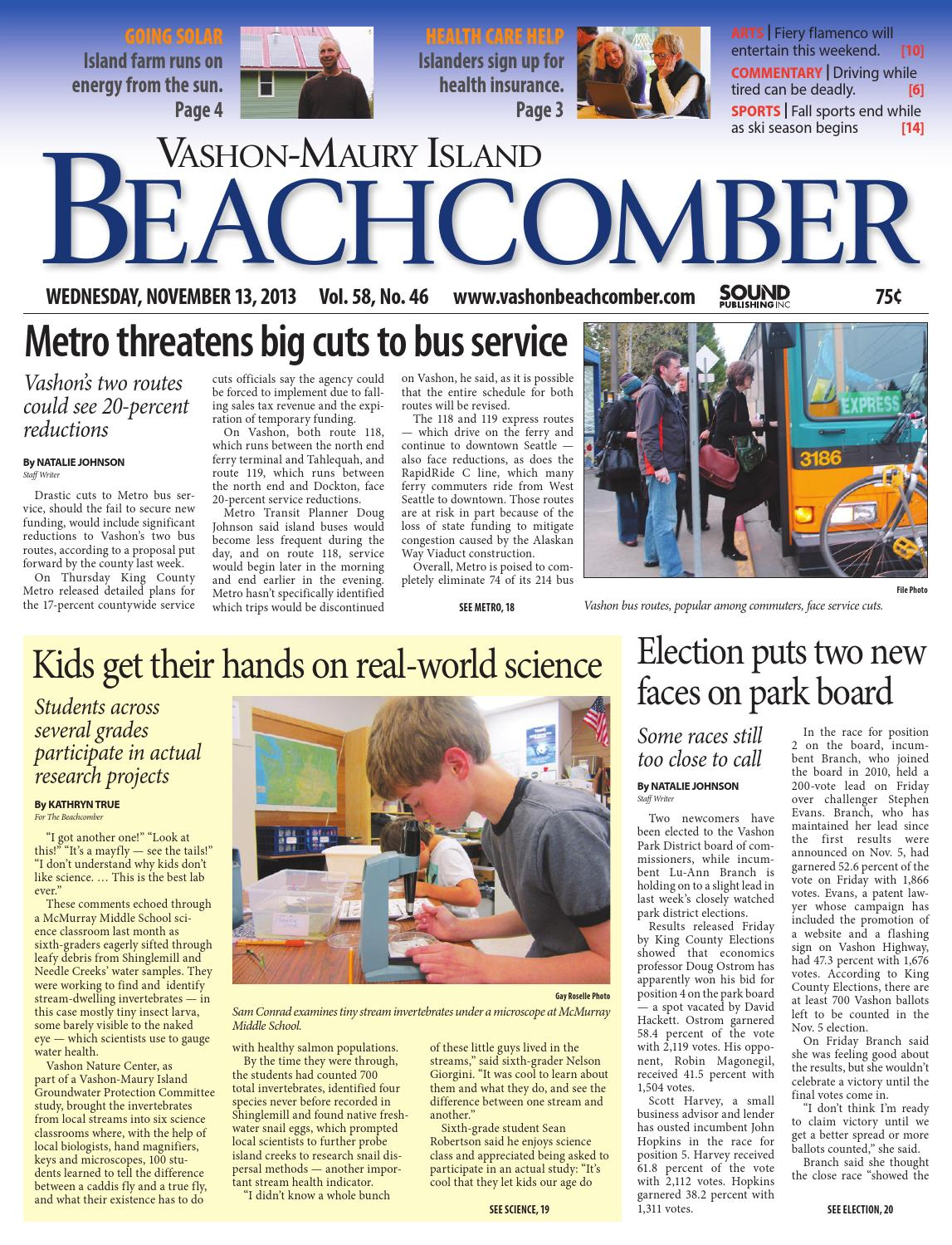 Vashon-Maury Island Beachcomber, November 13, 2013 by Sound