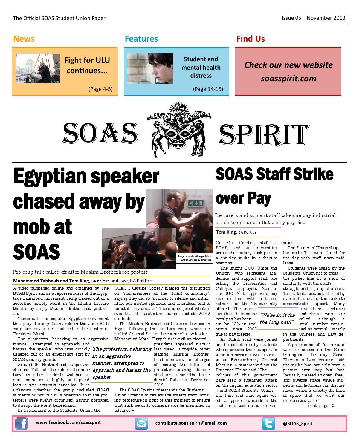 The SOAS spirit issue 5 by The SOAS Spirit - issuu