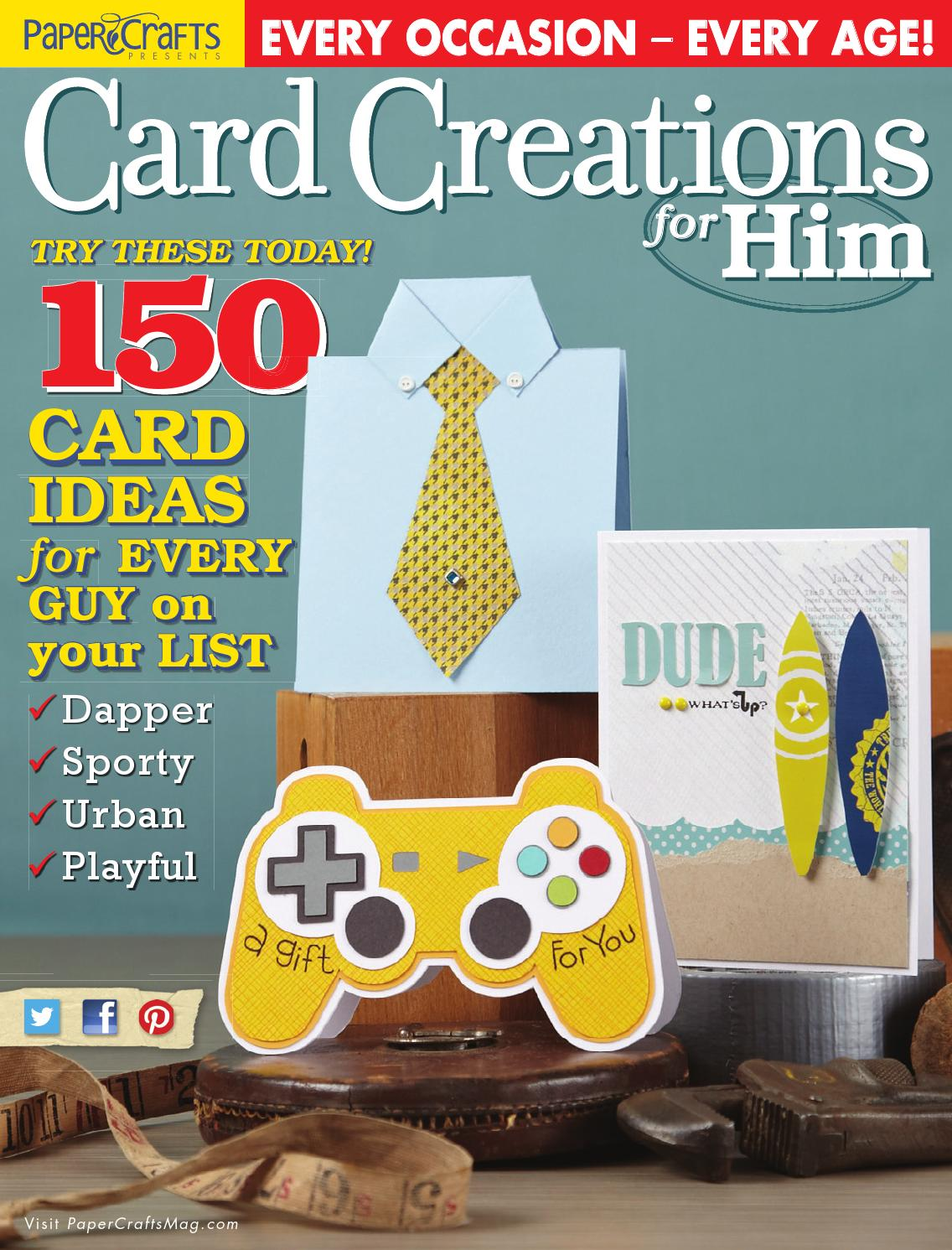 Paper Crafts Card Creations For Him By Scrapbooking Magazine