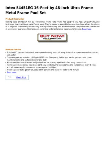 Intex 54451eg 16 feet by 48 inch ultra frame metal frame pool set by ...