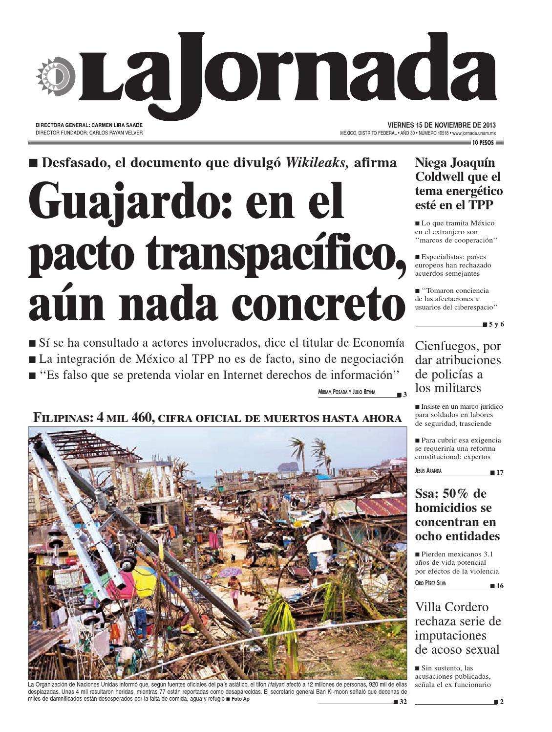 La Jornada, 11/15/2013 by La Jornada: DEMOS Desarrollo de Medios SA ...