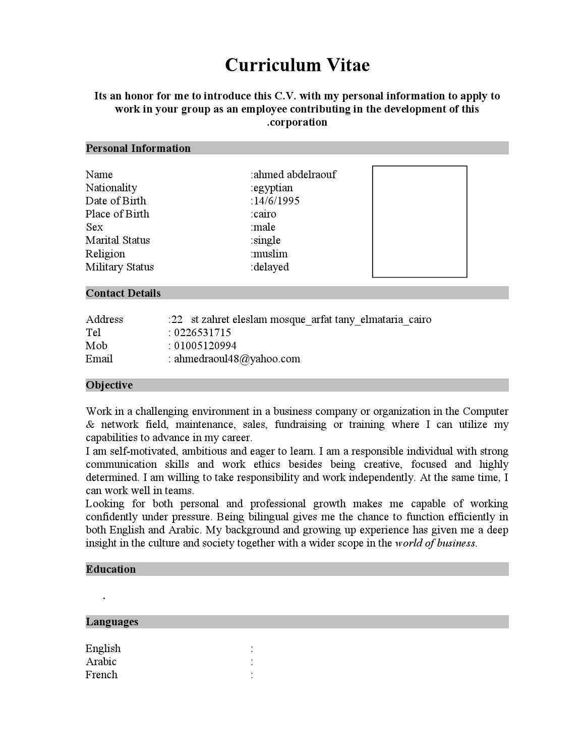 english cv form by ahmed raouf