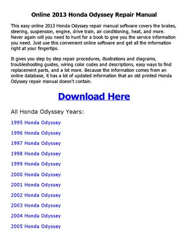 2001 honda odyssey service repair manual software
