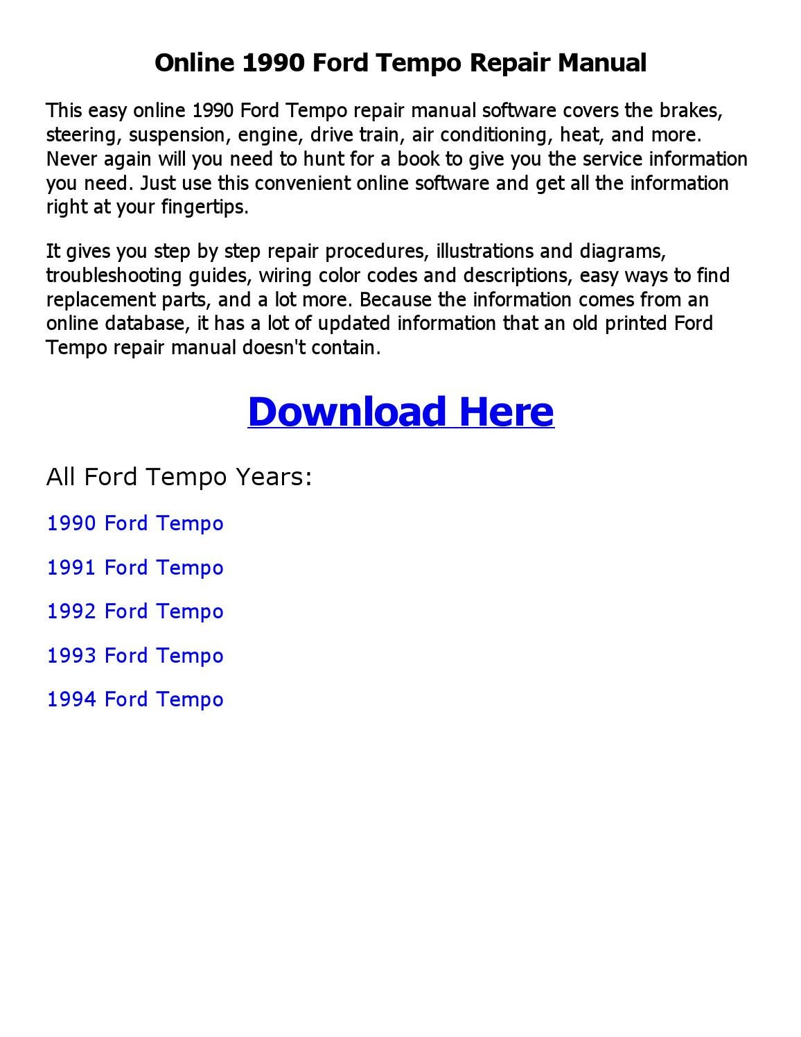 1990 Ford Tempo Repair Manual Online By Shoaibsiddique Issuu Wiring Diagram