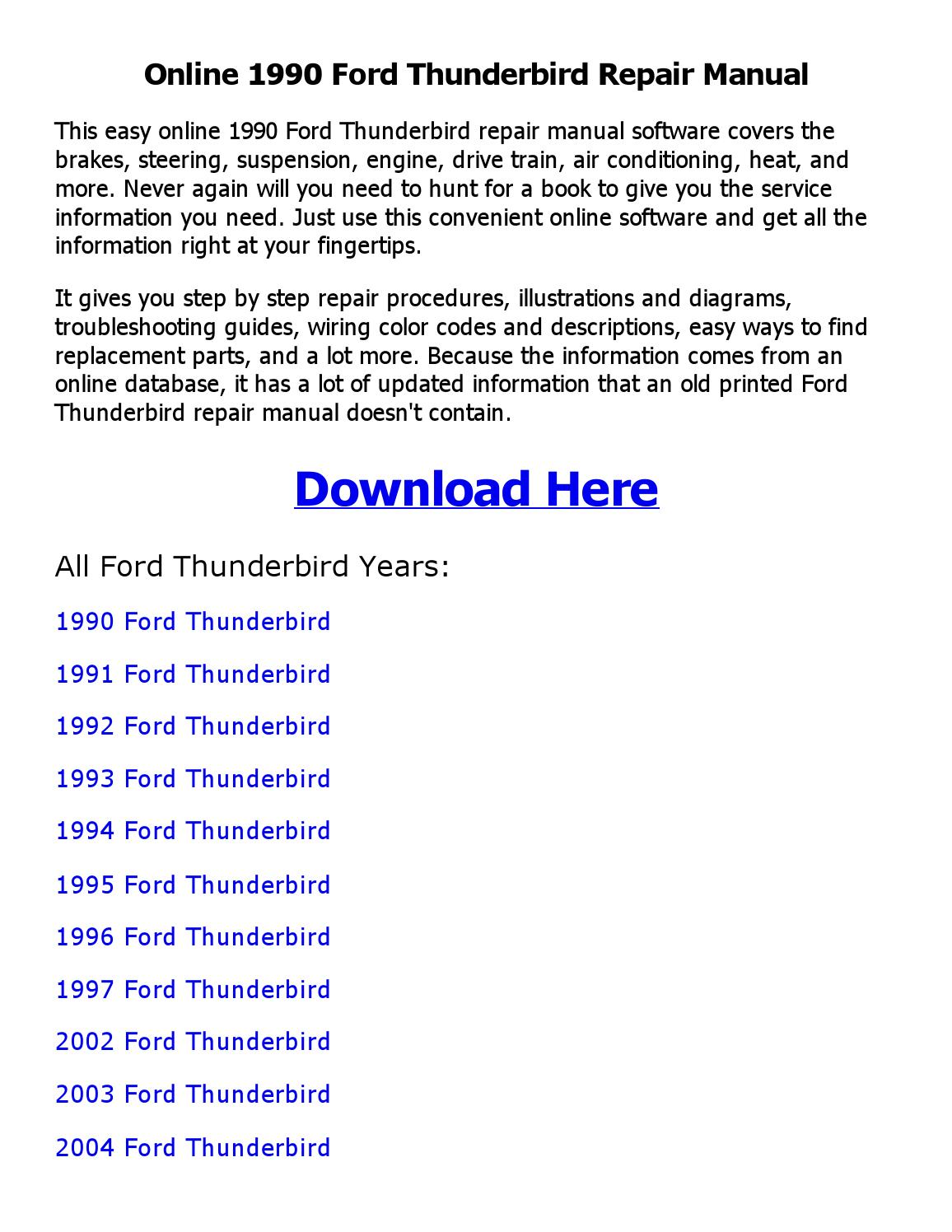 1990 Ford Thunderbird Repair Manual Online By Shoaibsiddique Issuu 2004 Engine Diagram