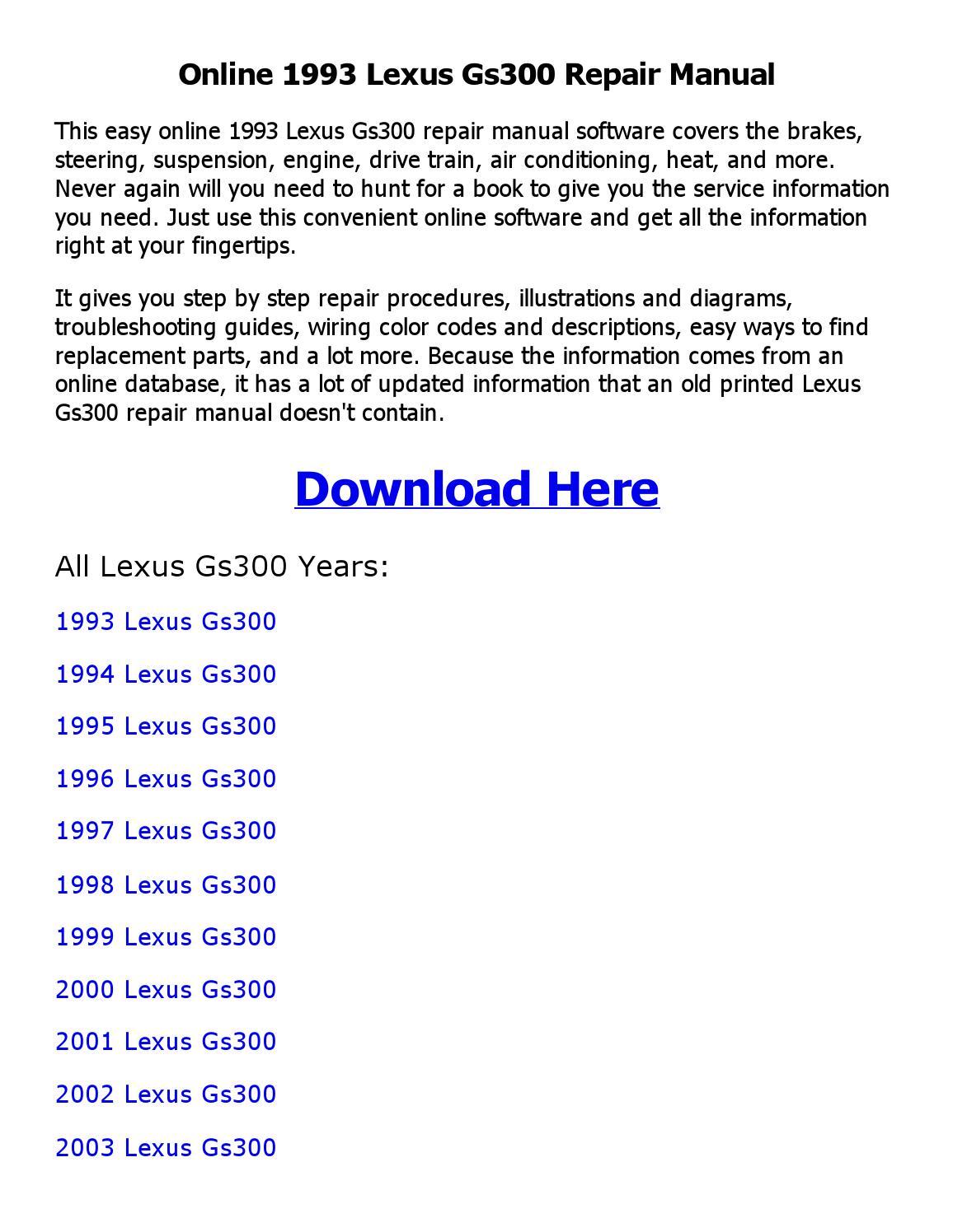 1993 Lexus Gs300 Repair Manual Online By Feri Dfebria Laksana Issuu 93 Wiring Diagram