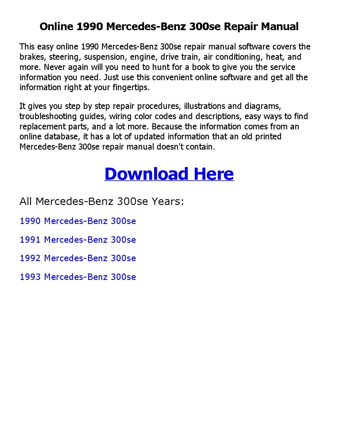 1992 mercedes 300se fuse diagram wiring library 1990 mercedes benz 300se repair manual online by shoaibsiddique issuu