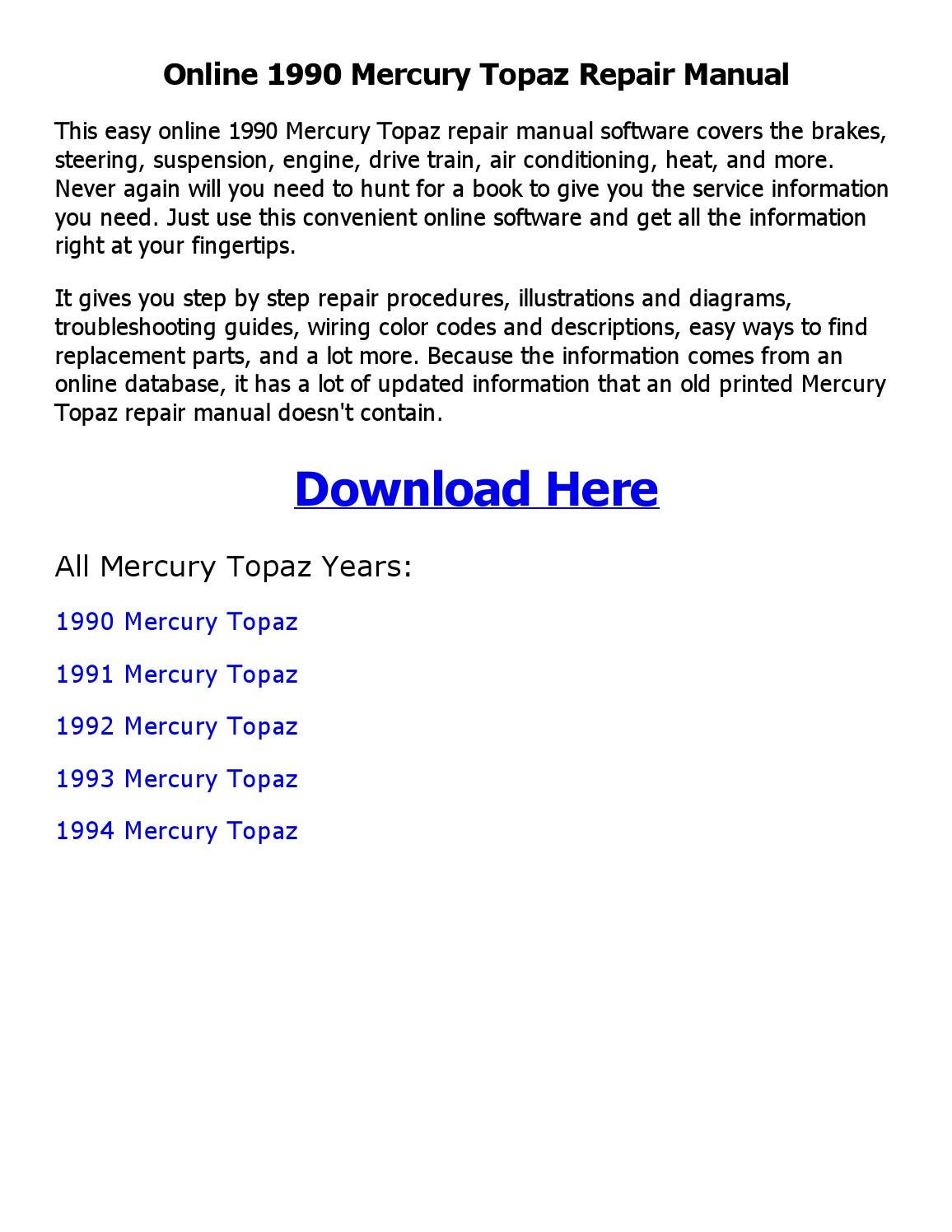 1992 Mercury Topaz Parts Diagram Electrical Wiring Diagrams 1993 Sable Engine 1990 Repair Manual Online By Shoaibsiddique Issuu
