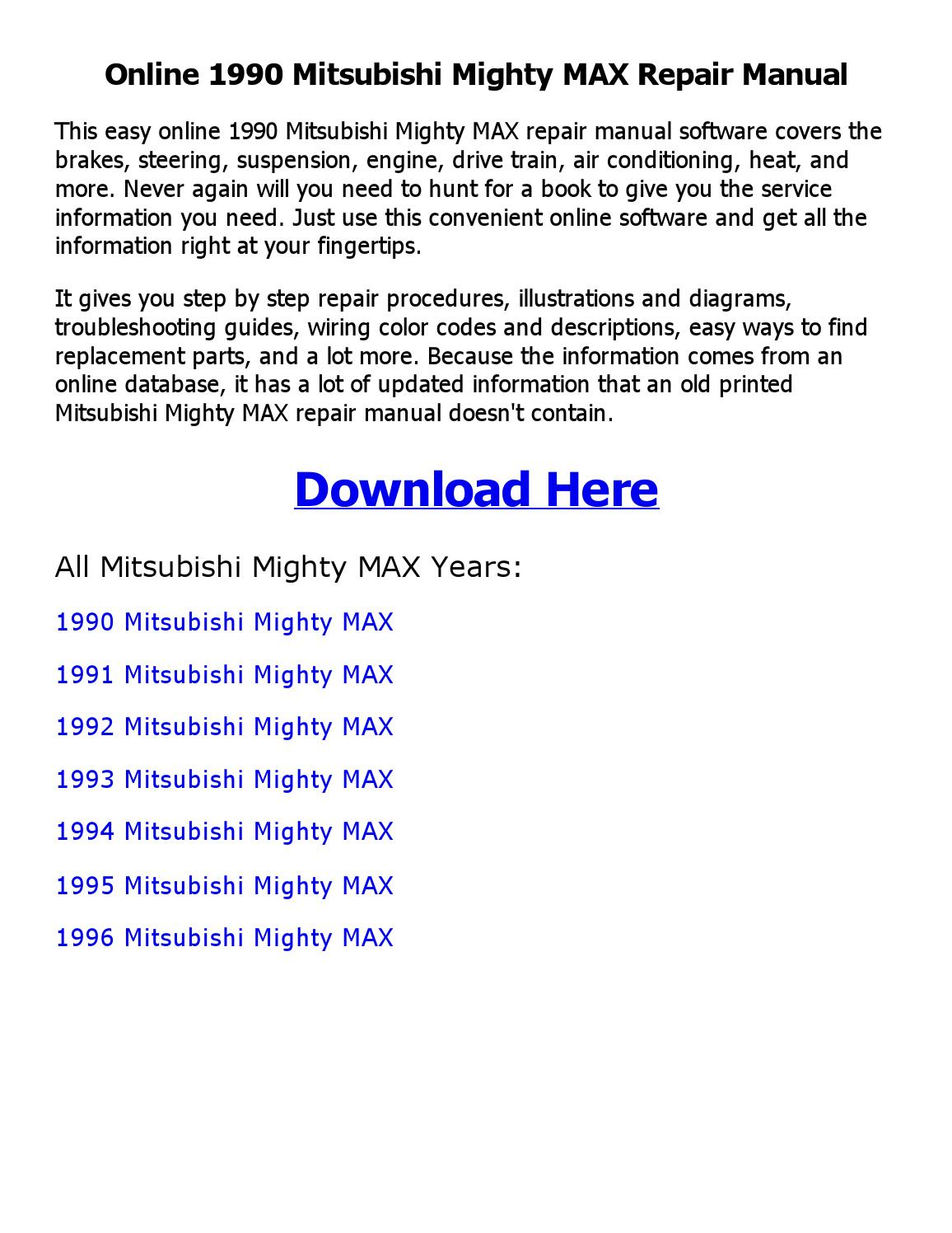 1990 mitsubishi mighty max repair manual online by shoaibsiddique - issuu