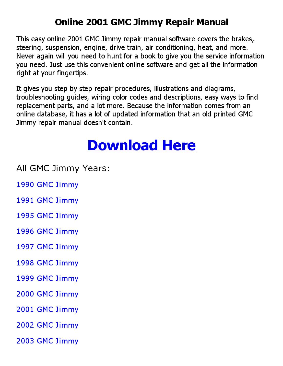 2001 Gmc Jimmy Repair Manual Online By Siddiqueice