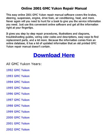 2001 gmc yukon service repair manual software