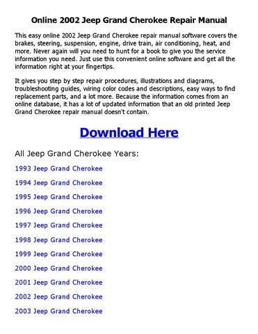 2002 jeep grand cherokee repair manual online by johnny issuu rh issuu com 2001 Jeep Grand Cherokee Manual 2001 jeep grand cherokee owners manual online