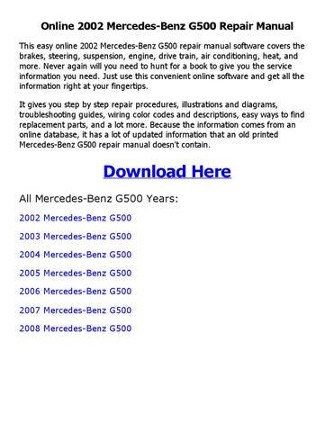 2002 mercedes benz g500 repair manual online by Johnny - issuu on mercedes ml320 wiring diagram, mercedes 300d wiring diagram, mercedes e320 wiring diagram,