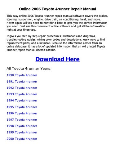 2006 toyota 4runner parts manual