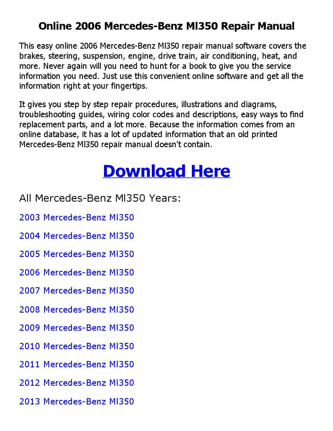 2006 Mercedes Ml350 Engine Diagram Wiring Library Benz Repair Manual Online By Coollang Issuu