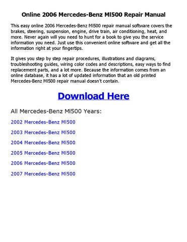 2006 mercedes benz ml500 repair manual online by coollang issuu rh issuu com mercedes ml500 service manual Optoma ML500 Review