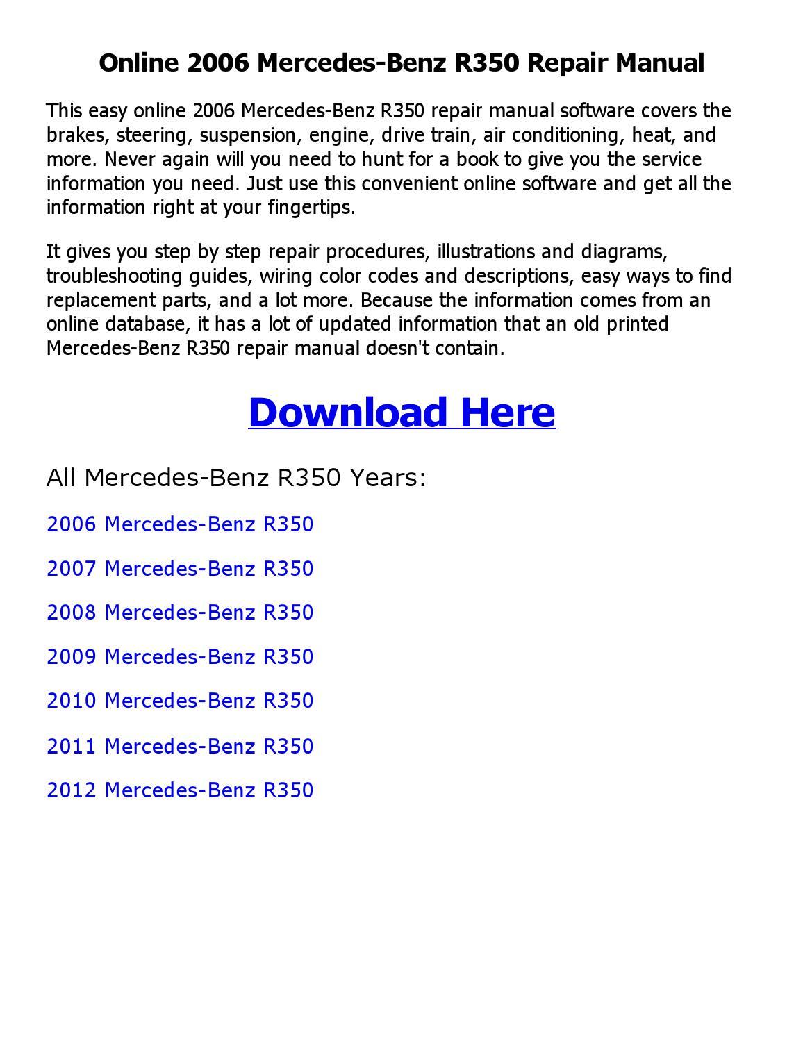 2006 Mercedes Benz R350 Repair Manual Online By Coollang