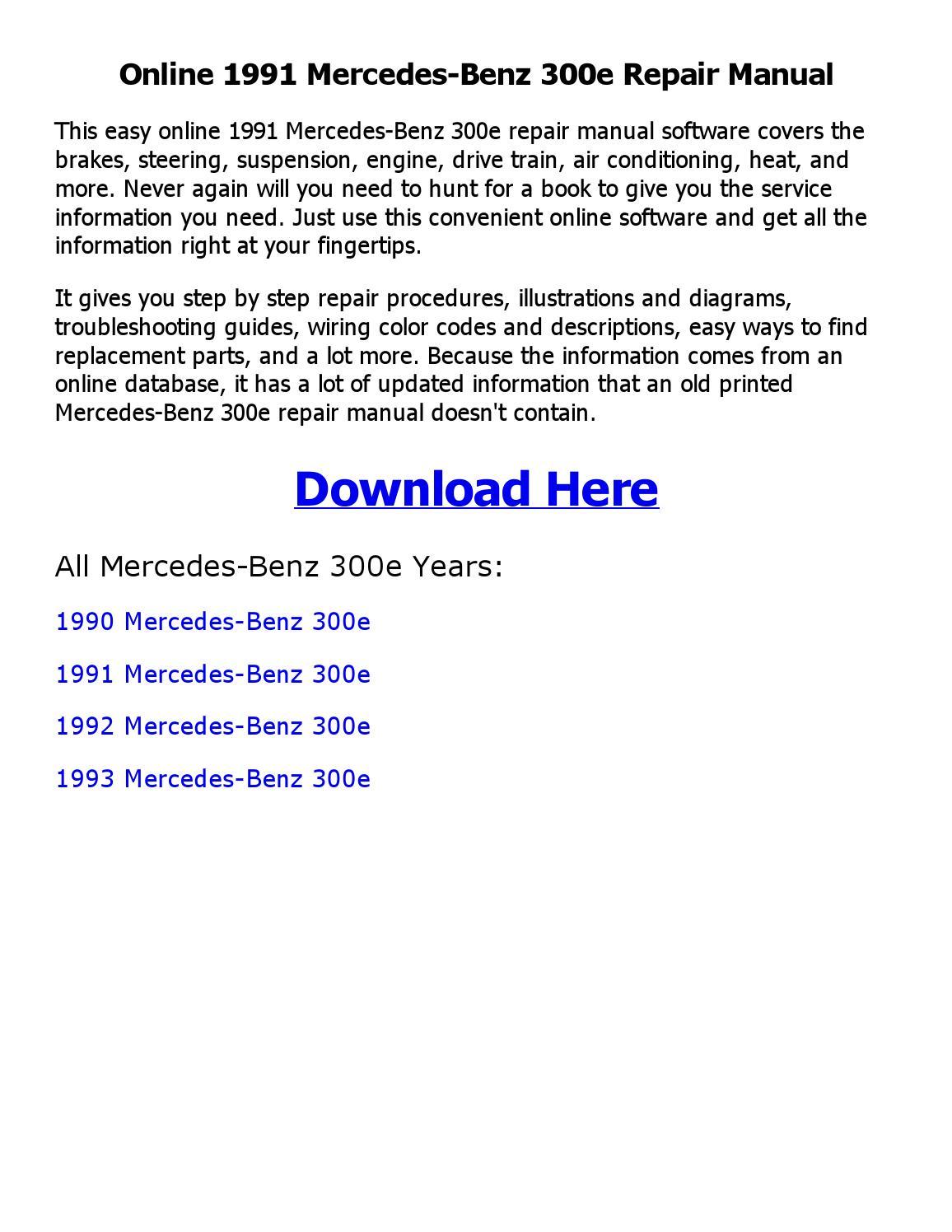 1991 Mercedes Benz 300e Repair Manual Online By Ahmed Issuu Wiring Diagram