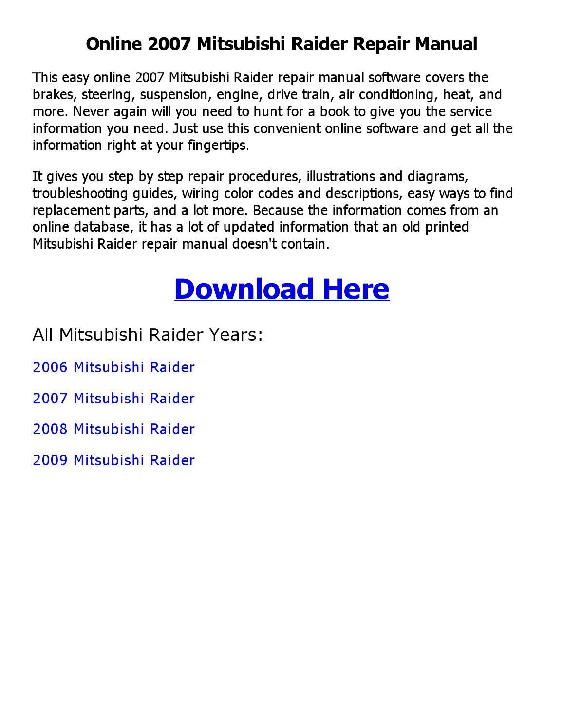 2007 mitsubishi raider repair manual online by emran ahmed - issuu